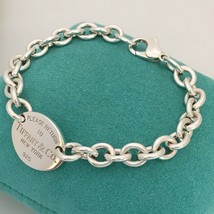 """8.25"""" Large Please Return To Tiffany & Co Silver Oval Tag Charm Bracelet - $245.00"""