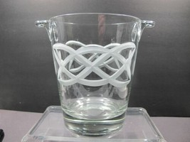 Hand cut glass ice bucket Celtic Shamrock pattern - $42.90
