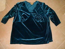 Notations Womens Plus 3X Velour Teal top.empire waist,attached necklace.... - $12.87