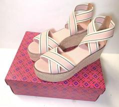 Tory Burch Frieda Blush Stripe Pink Tan Platform Espadrille Sandals Size US 8 - $170.99