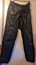 F Unky PUNK/ Ri Clothing Bl Ack Leather Trousers.Size SMALL/8. Top Button Missing - $79.65