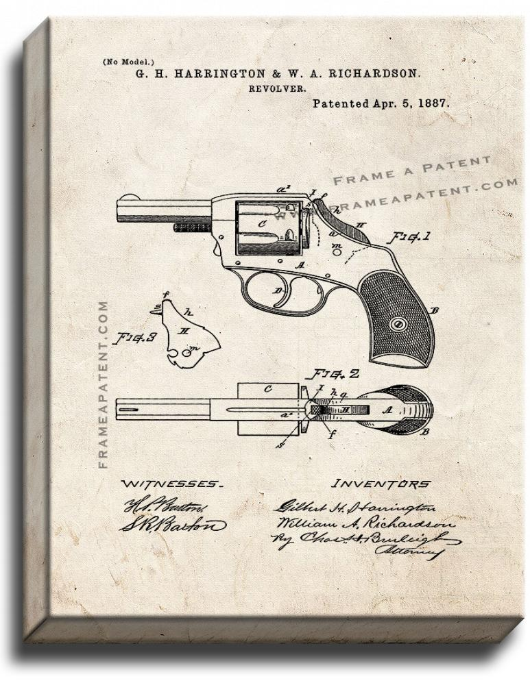Primary image for Revolver Patent Print Old Look on Canvas
