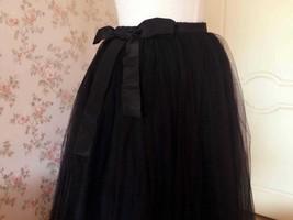 WOMEN BLACK Tea Length Midi Tulle Skirt Plus Size Black Tulle Skirt With Bow NWT image 4