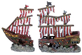 Penn Plax Striped Sail Shipwreck Aquarium Decoration 2PC Large Over 19 I... - $91.47