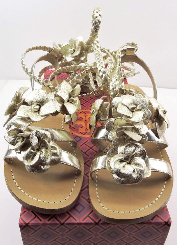 Tory Burch Blossom Gladiator Sandals Gold Floral Shoes Flats Flip Flop 6 Slide