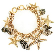 Link Chain Womens Sea Shell Charms Pearls Gold Starfish Bracelet Ring To... - $19.95