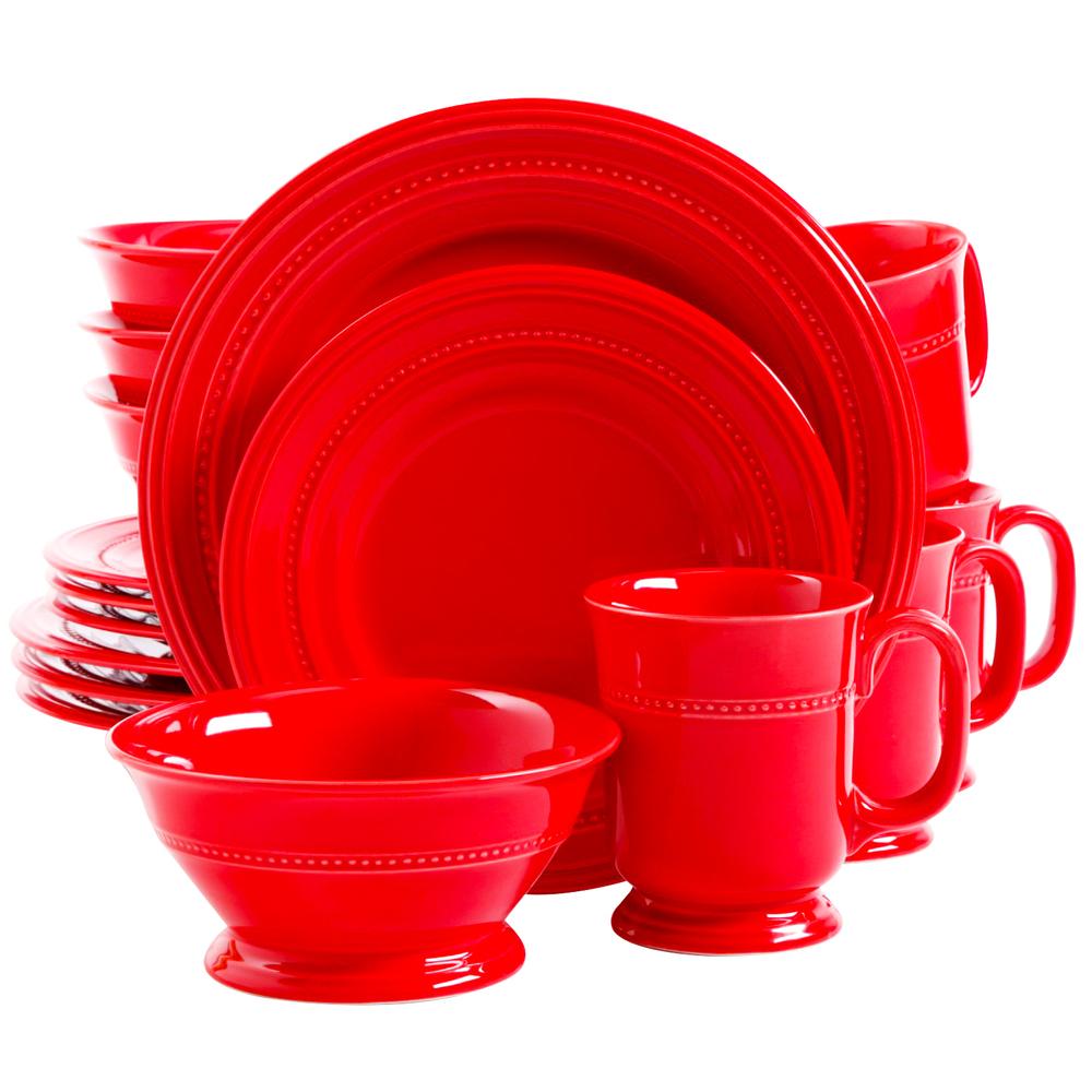 Gibson Barberware 16 Piece Stoneware Dinnerware Set in Red