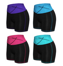 Women's W Sport Two Tone Athletic Work Out Fitness Stretch Gym Shorts AP-4815 image 1
