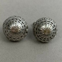 Napier Dome Screwback Clip On Earrings Silver Tone Signed Vintage Domed ... - $15.80