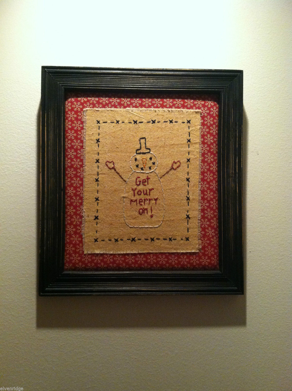 Hand Stitched Get Your Merry On ! Snowman Christmas Holiday Framed Picture