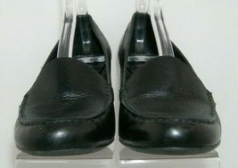 Franco Sarto 'Nation' black leather round toe slip on loafer stacked heels 8M image 5