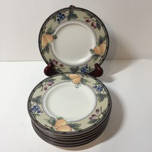 "Bread Plate Saucer Mikasa Intaglio Garden Harvest 6.5""  Fruits Grapes Plums - $7.84"