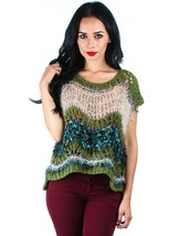 Foxy Green or Red Color Block Acrylic Blend Open Knit Sweater Cap Sleeve... - $23.86 CAD