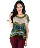 Foxy Green or Red Color Block Acrylic Blend Open Knit Sweater Cap Sleeve... - €14,40 EUR