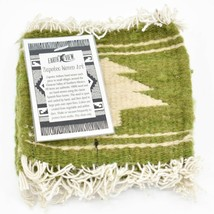 Handmade Zapotec Indian Weaving Hand-Woven Pine Tree Green Wool Coaster Set of 4 image 2