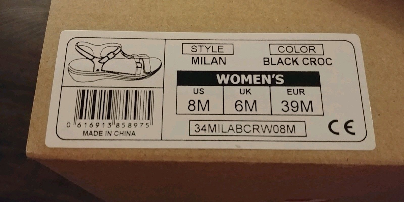 NEW Revere Milan Womens Black Croc Leather Comfort Sandals Shoes Orthotics 8M 39