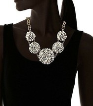 Cohesive Jewels Floral Simulated Pearl and Swarovski Crystals Statement Necklace image 2