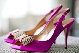 Kate Spade Crown Heels Fuchsia Suede w/ Crystal Bow Pink 8.5 B In Box/Bag $398 - $299.00