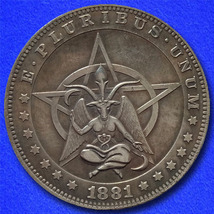 "Pentagram Baphomet ""Hobo Nickel"" on Morgan Dollar Coin ** - $3.79"