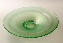 Modern Iridized Green Shallow Bowl Carnival Fenton 9.5 Inches Diameter - $22.71