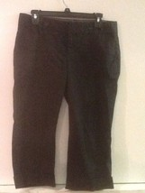 GAP Women's CLASSIC Fit Straight Leg Cotton Capri Cuffed Pants Stretch Black 8 - $12.95