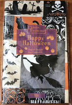 """NEW Halloween Vinyl Tablecloth 60"""" Round Flannel Backed Witches Cats Bats - £5.64 GBP"""