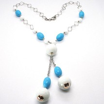 Silver necklace 925, Balls, White Agate Faceted Turquoise Oval, Pendant image 2