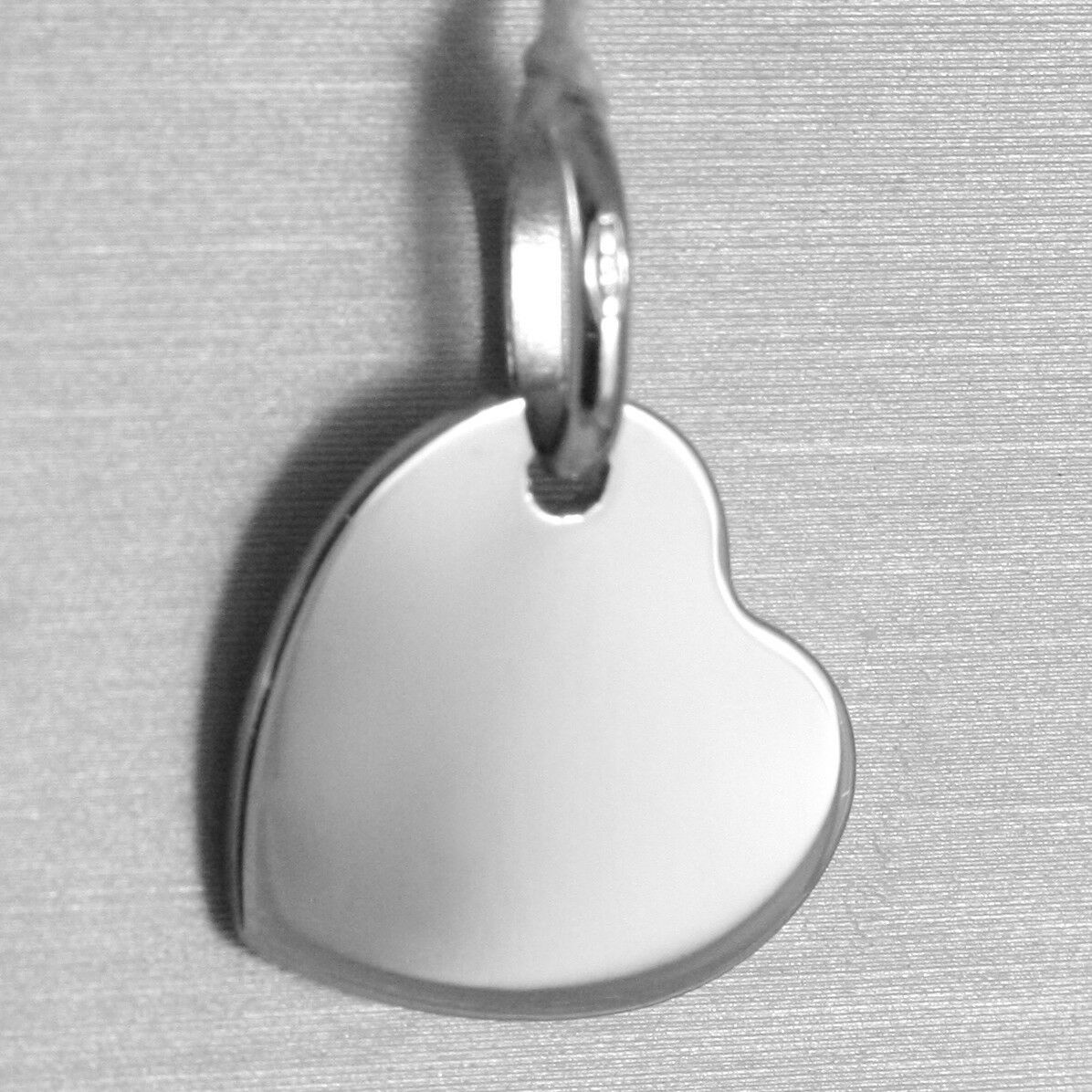 18K WHITE GOLD HEART ENGRAVABLE CHARM PENDANT 13 MM FLAT SMOOTH MADE IN ITALY