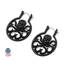 Women's Black Stainless Steel & Black Gem Hydra with Black Cubic Zirconia Hoop E