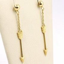 Yellow Gold Drop Earrings 750 18k, Arrows, Arrow, Made in Italy image 2