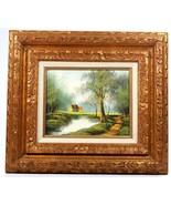"Landscape Oil on 8"" x 10"" Canvas Signed M. Parkes with Gold Gilt Frame  - $124.18"