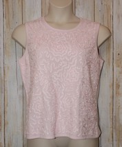 Womens Pink Corded Designers Originals Sleeveless Sweater Shirt Size XL ... - $7.91
