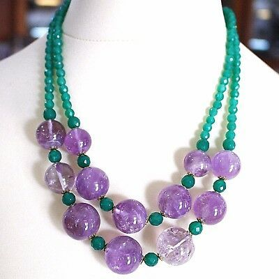 SILVER 925 NECKLACE, DOUBLE ROW, SPHERES AMETHYST LARGE, CHALCEDONY GREEN