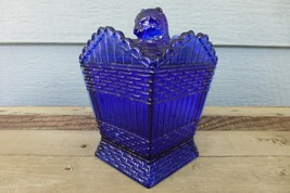 COBALT BLUE GLASS Cat On A Hamper Basket SUMMIT Greentown Covered Candy ... - $41.77