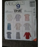 Vintage McCall's 7518 Pattern Great Looks One Easy Pattern Shirts Tanks ... - $8.91
