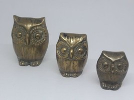 Vintage Brass Owl Family Set of 3 Very Cool! Paperweight Figurine Collec... - $18.29