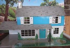 "VINTAGE TOY 26"" X 15"" X 14"" HIGH LARGE MARX TIN DOLL HOUSE BLUE - $222.75"