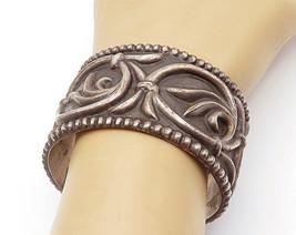 MMA 925 Sterling Silver - Vintage Dark Tone Swirl Fluted Cuff Bracelet -... - $225.72