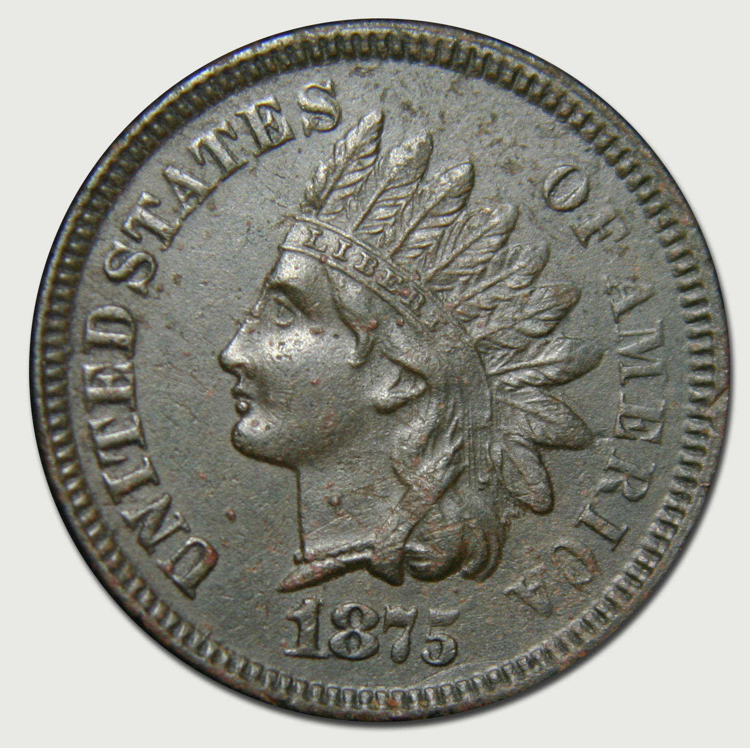 1875 One Cent Indian Head Penny Coin Lot# MZ 2893