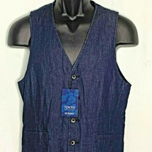 Murano Chambray Denim Vest S Blue Tokyo Collection Waist Coat Pockets - $49.45