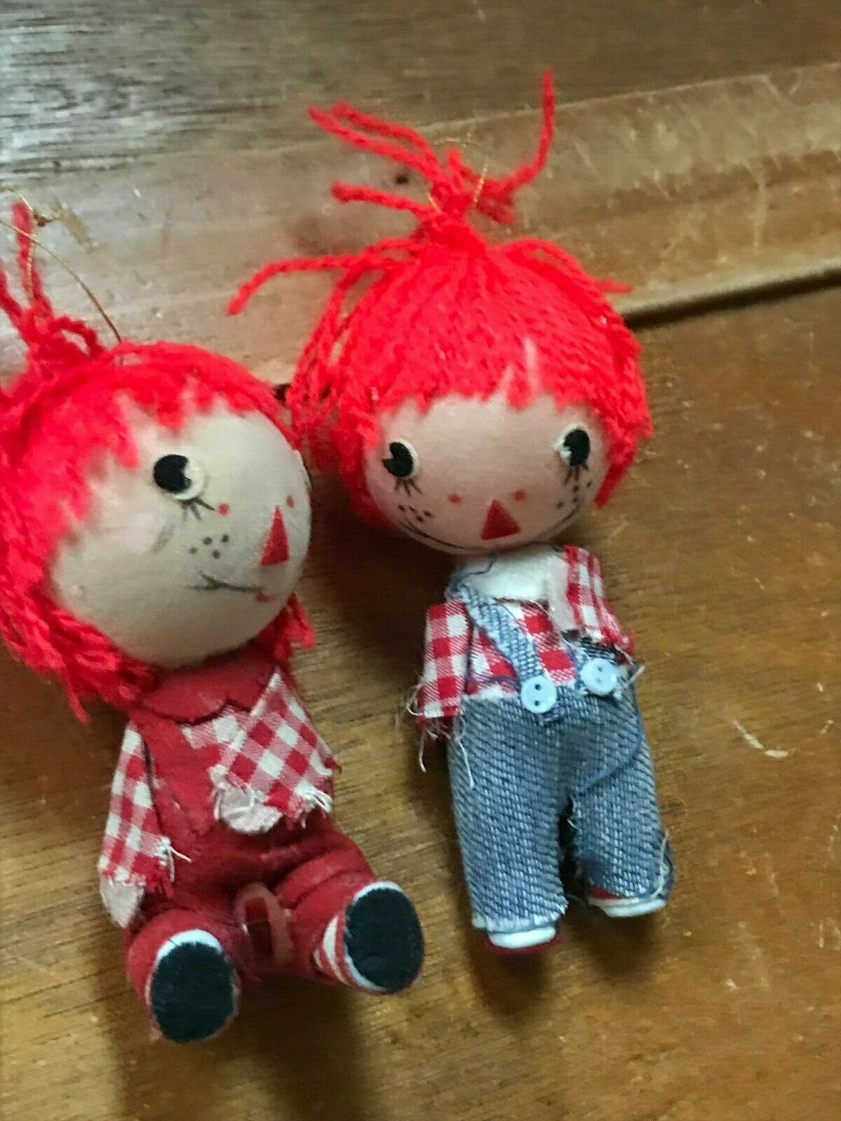 Vintage Pair Lot of Raggedy Ann & Andy Christmas Tree Ornaments – made in Hong  image 2