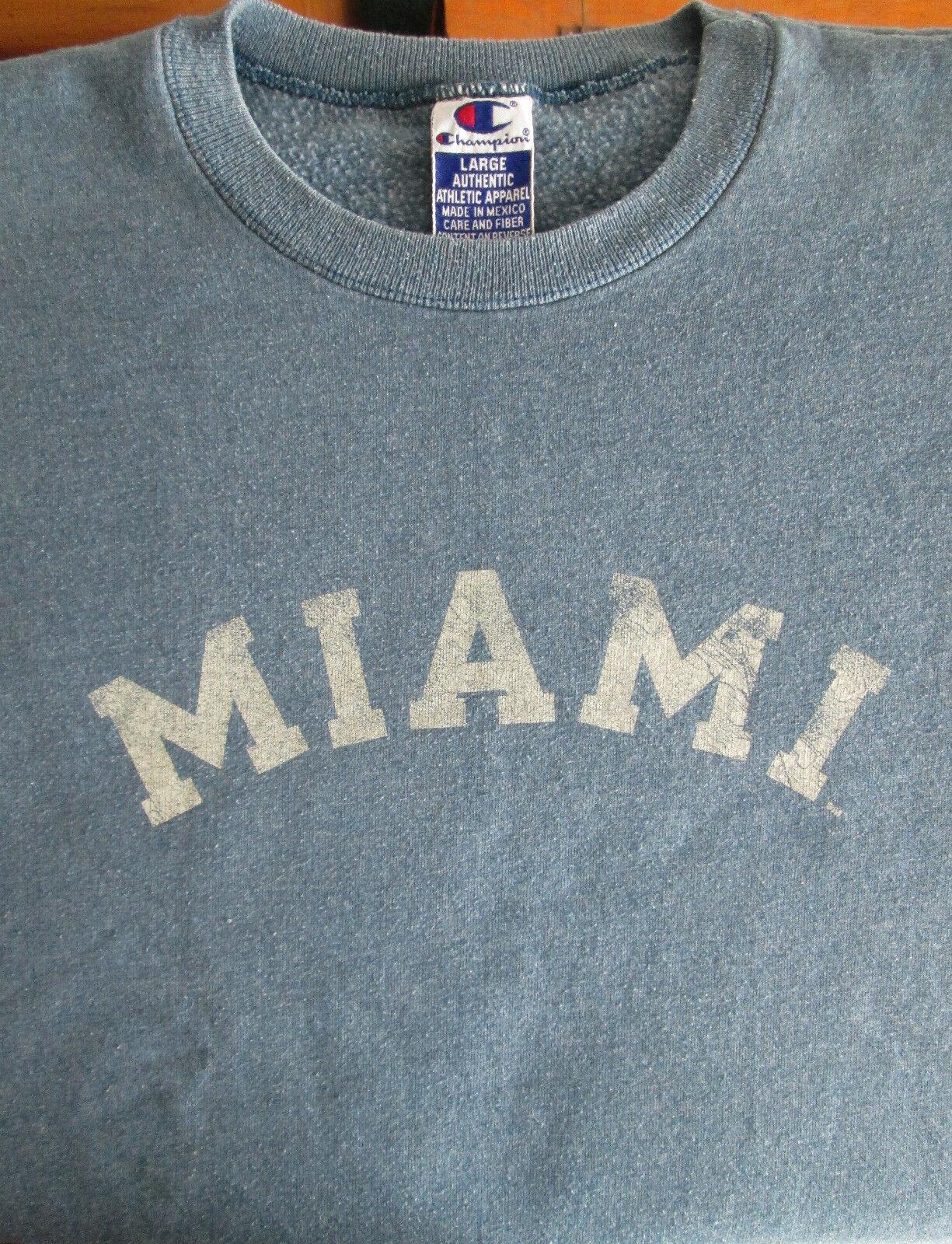 Miami Retro Faded Graphic Blue Sweatshirt Cotton Blend Size Large Champion image 3