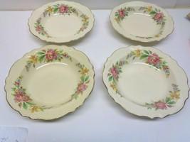 """4 Vintage Homer Laughlin Floral USA Made 8 1/3"""" Soup or Salad Bowls - $21.77"""