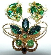 Butterfly Emerald Green Demi, Stones In Detailed Gold Tone Settings - €10,09 EUR