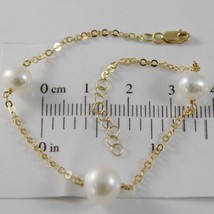 18K YELLOW GOLD BRACELET 7.5 INCHES WITH ROUND CHAIN & WHITE PEARL MADE IN ITALY image 1