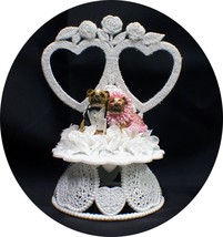 Pink Zelda Wisdom Bull Dog Pug Wedding Cake Topper 2 Hearts Groom Top - $34.16