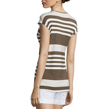 Liz Claiborne Striped Tee Size M New Olive Multi Msrp $36.00 - $14.99