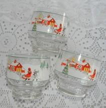 3 Vintage Sango Silent Night Glass Tumblers Christmas Holiday Old Fashio... - $17.99