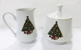 Vintage Árbol de Navidad Porcelana Jarra Azucarera Juego Utensilios Cocina - $15.83