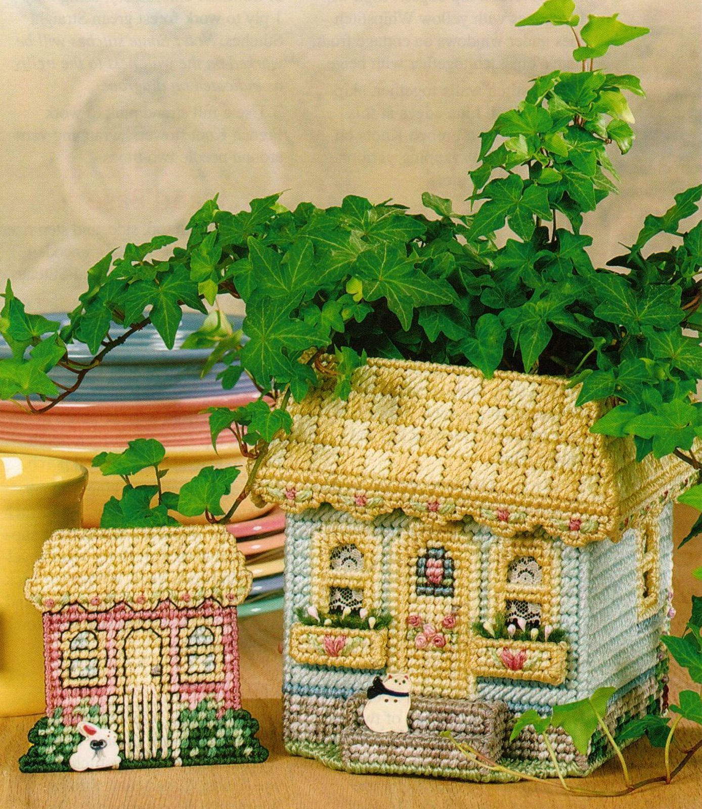 Primary image for Plastic Canvas English Cottage Planter Bag Clip Centerpiece Pattern